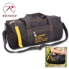 Rothco Black Canvas Equipment Bag – Heavyweight Cotton Canvas, Detachable Strap, Carry-On Handles, Yellow Contrast Thread
