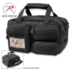 "Rothco Black Tactical Tool Bag – 600 Denier Polyester Construction, MOLLE Compatible, Top Handles, ID Holder – 11 1/4""x 8""x 6 3/4"""