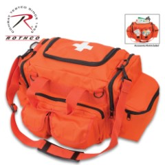 Rothco Emergency Orange EMT Bag – 600D Polyester With PVC Coating, Eight Pockets And Pouches, Adjustable Shoulder Strap