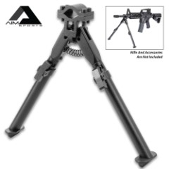 "AIM Universal Clamp Bipod - Aircraft Grade Aluminum Construction, Spring Tension, Adjustable Legs, Fits Most Barrels - Dimensions 8 1/2"" to 13 1/2"""