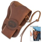 US Cavalry Six-Gun Revolver Holster - Premium Leather, Top-Stitching, Leather Securing Thongs, Belt Loop Flap - Length 8 1/4""