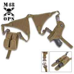 M48 OPS Universal Horizontal Shoulder Holster - Olive Drab - Fits Most Pistols / Handguns - Semiautomatic / Semi Auto, Revolvers, More - Double Mag Pouches - Padded Shoulder - Adjustable Harness