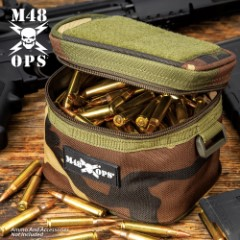 """M48 Soft-Side Camouflage Ammo Bang Box - 600D Polyester Construction, Zipper Closure, ABS Loop On Each Side - Dimensions 5 1/4""""x 4 1/4"""""""