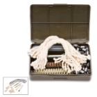 Military Surplus German G3 Rifle Cleaning Kit - Postwar; Used, Excellent Condition - Compatible with all .308 - .351 Caliber Rifles, Pistols - Brushes, Oiler, Pull-Through Chain, More - Rugged OD Case