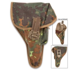Authentic German Walther P1/P38 Holster – New, High-Strength Nylon Construction, Snap-Cinch Strap Closure, Mag Pouch