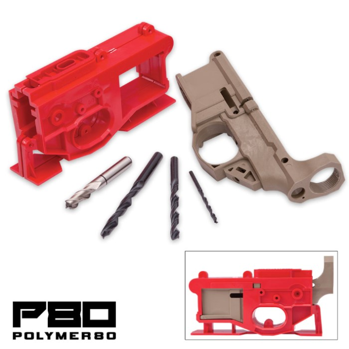 AR15 80% Lower Receiver & Jig Kit - Dark Earth - Polymer80