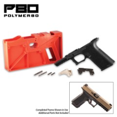 Black 80-Percent Standard Pistol Frame Kit – Reinforced Polymer Construction, Stainless Steel Rear Rail Module, Adaptable Grip Texture, Picatinny Rail