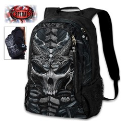Skull Armor Backpack With Laptop Pocket - 600D Oxford Cloth Construction, Azo-free Reactive Dyes, Multiple Pockets, Adjustable Straps