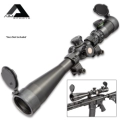 AIM 10-40X50 Rifle Scope - Aircraft Grade Aluminum Construction, Mil-Dot Reticle, Side Parallax, Locking Turrets - Length 15 1/2""