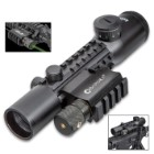 Barska 4X28 Electro Sight Tactical Multi-Rail Riflescope - Dual Color Mil-Dot Reticle, Five-Position Rheostat - Length 8""