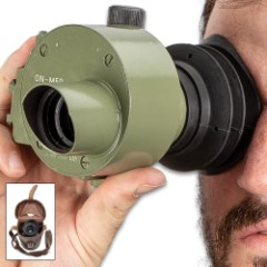 Yugoslavian Olive Drab Green Monocular Scope With Leather Case - Used, Rubber Eye Cup, Elevation Adjustment