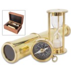 "Compass, Telescope And Minute Timer Set In Wooden Box - High-Quality Brass Construction, Working Pieces - Box 6""x 4"""