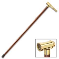Mini Telescope Walking Cane - High-Quality Polished Brass Handle, Brown Wooden Shaft, Rubber Toe - Length 34 1/2""