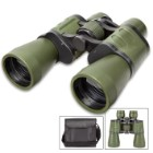 "10X50 Wide Angle Binoculars With Case - Metal Frame, Rubberized Body, Blue-Coated Lenses, Focus Wheel - Dimensions 7 1/2""x 7 1/2"""