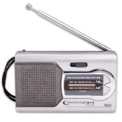 Technical Pro Battery-Powered AM/FM Handheld Radio With Speaker - Manual Tuner, Headphone Jack, Integrated Speaker, Adjustable Antenna