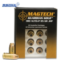 Magtech .380 Automatic / 85gr Jacketed Hollow Point (JHP) Ammunition – Box of 20 Rounds – Military, Law Enforcement, Self Defense, Competition, Match Grade
