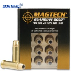 Magtech Guardian Gold .38 Special / 125gr Jacketed Hollow Point (JHP) + P Ammunition - Box of 20 Rounds - Military / Law Enforcement / Competition Grade - Self Defense and More