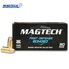 Magtech 9mm / 124gr Luger Bonded Jacketed Hollow Point (JHP) Ammunition - Box of 50 Rounds - Military / Law Enforcement / Competition Grade - Self Defense and More