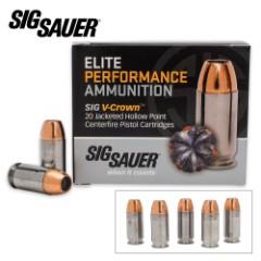 SIG Sauer Elite V-Crown .45 Auto Colt Pistol 185gr JHP Ammo – Box of 20