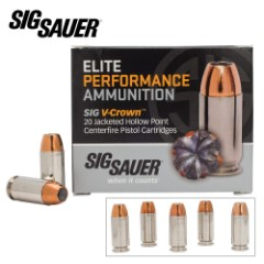 SIG Sauer Elite V-Crown .40 Smith & Wesson 165gr JHP Ammo – Box of 20