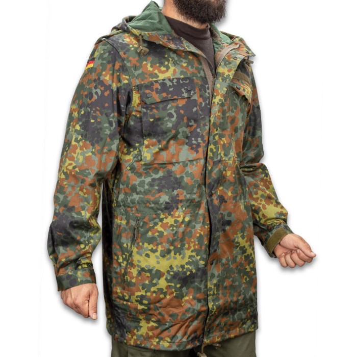f9249be368d59 German Military Flectarn Camo Parka With Hood - New, Cotton And Polyester  Construction, Spacious Pockets, Sturdy Zippers