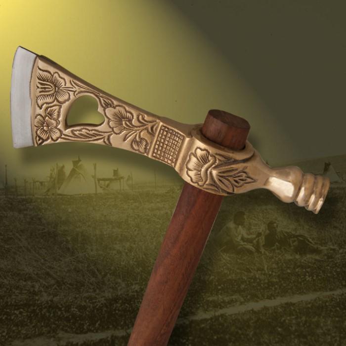Ornate Pipe Axe Replica w/ Cast Metal Head & Steel Blade