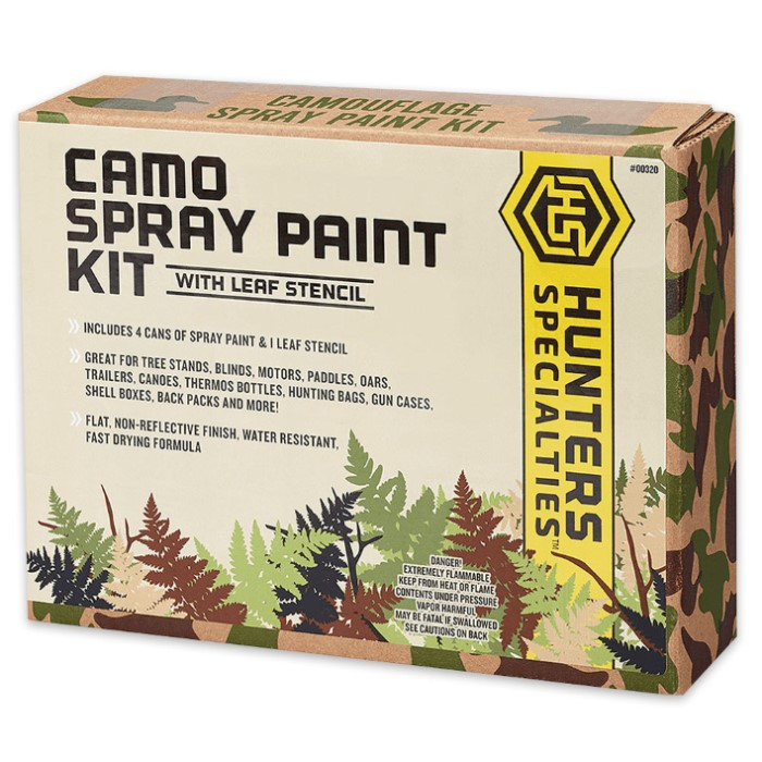 Camo Permanent Spray Paint Kit With Stencil Knives Swords At The Lowest Prices
