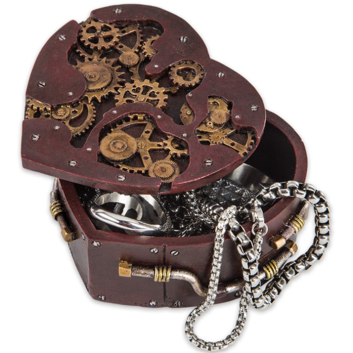 Heart Shaped Steampunk Trinket Box Budk Com Knives