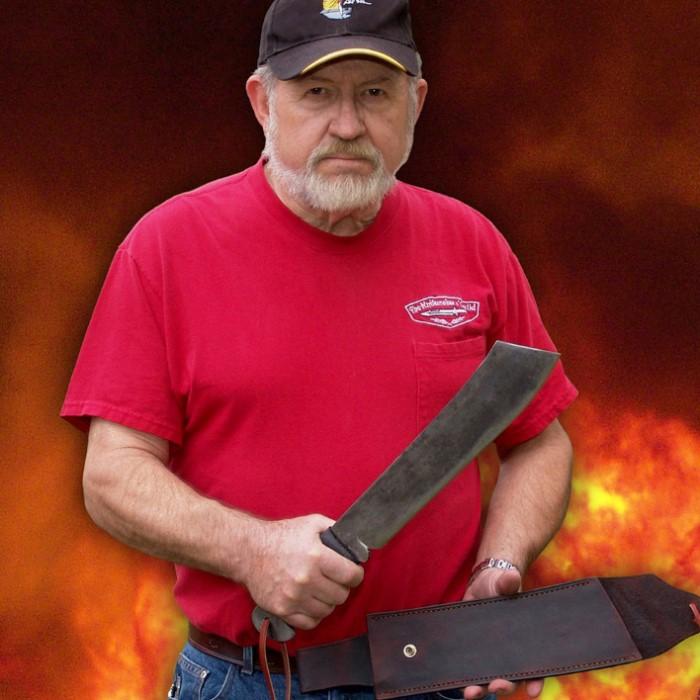 Gil Hibben Iv Machete Knife With Leather Sheath Kennesaw
