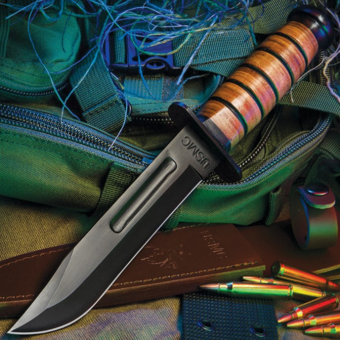 USMC Combat Fighter Fixed Blade Knife with Leather Sheath | BUDK com
