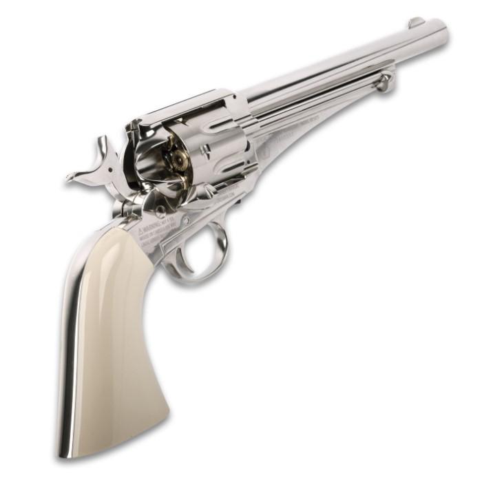 Remington 1875 CO2 Powered Replica Air Revolver - All-Metal, Nickel