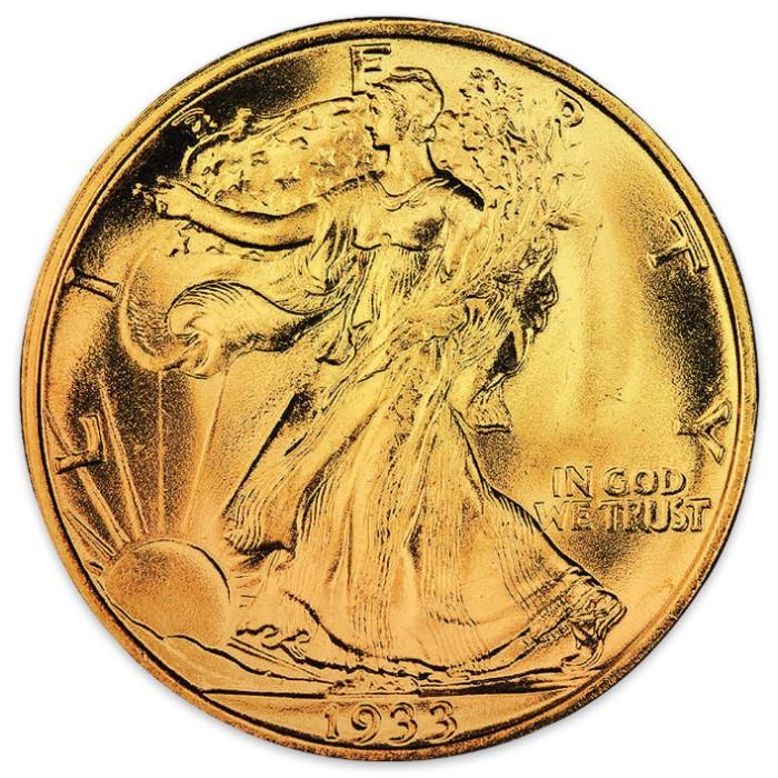 1930s Walking Liberty Silver Half Dollar 24k Gold Plated