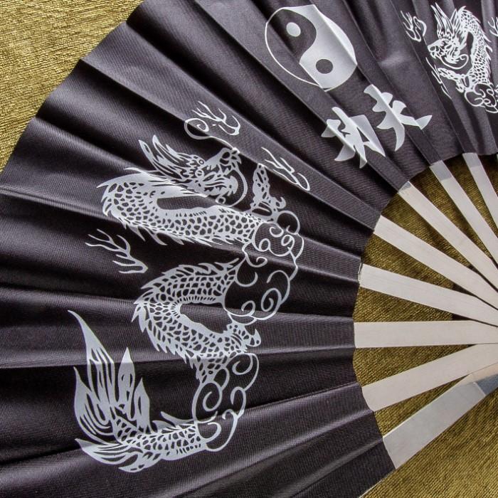 Metal Kung Fu Ninja Fighting Fan - Dragon & Yin Yang