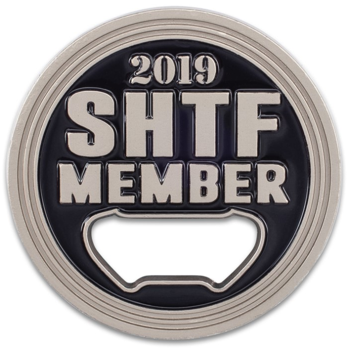 SHTF Challenge Coin Bottle Opener - Silver Finish, Crafted Of Metal