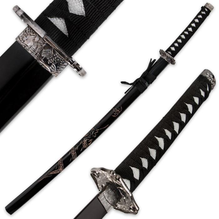 Black Katana Sword W Dragon Engraved Scabbard And Black Blade