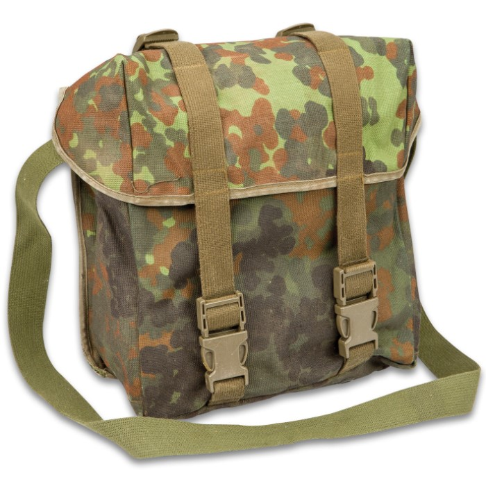 7f58fd9b2 German Military Surplus Combat Pack / Shoulder Bag - Flecktarn Camo - Water  Resistant Nylon; Waterproof Rubberized Core; Shoulder Strap - Used -  Hunting ...