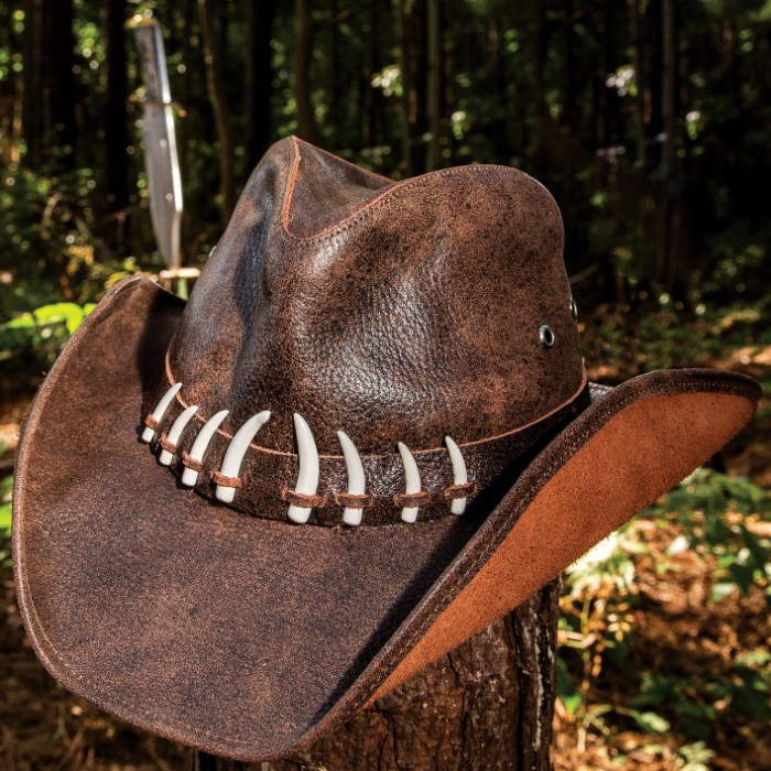 Outback Crocodile Survivor Hat - Genuine Weathered Leather, Shapeable Brim,  Faux Crocodile Teeth Accents, Inside Elastic Band