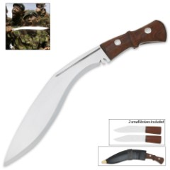 Genuine Gurkha Kukri with Traditional Accessory Knives and Leather Sheath